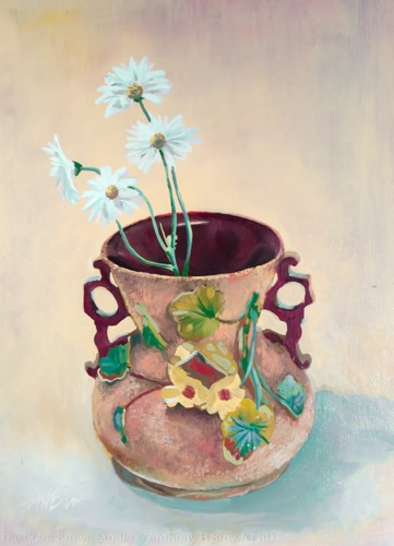 Daises in a ceramic pot