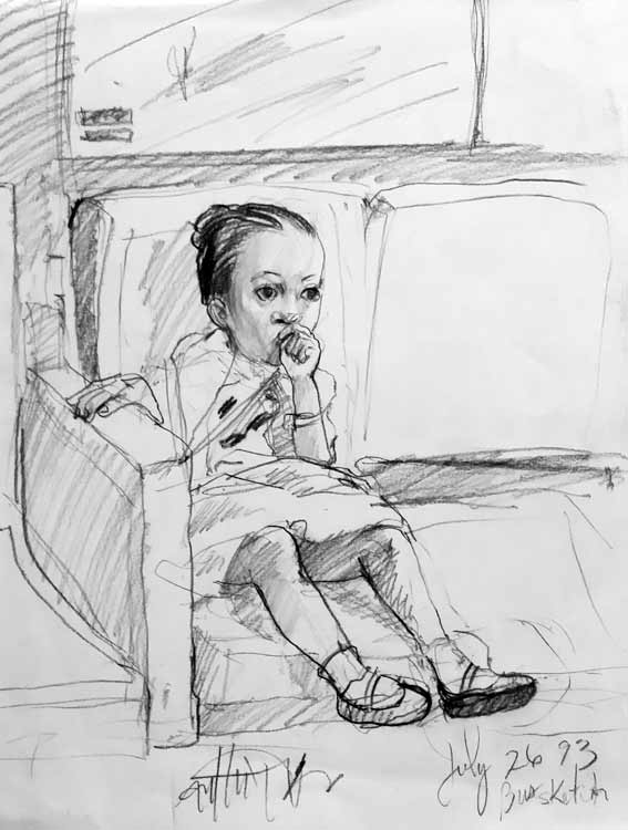 On the Way to GrandMa's House Charcoal on Paper 14%22 X 11%22