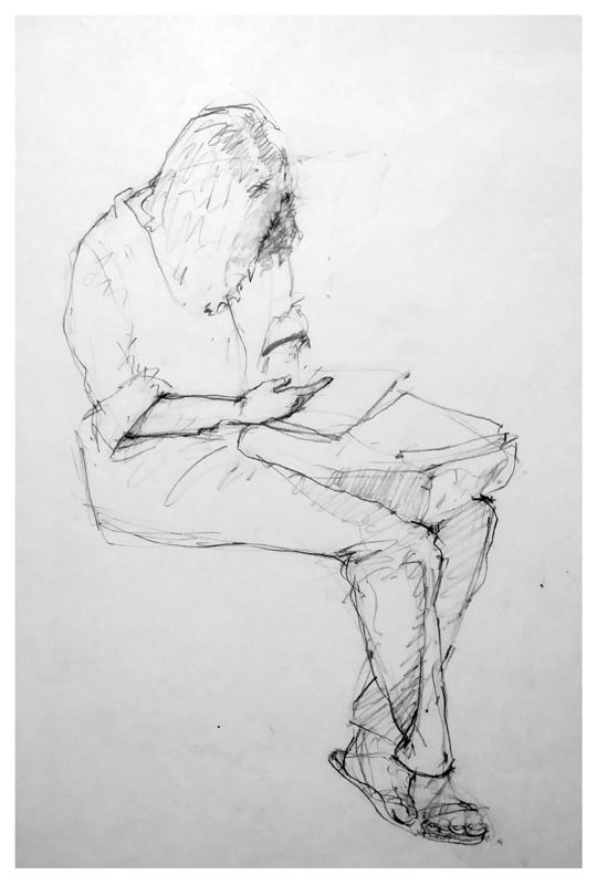 "Reading while Riding Charcoal on Paper 14"" X 11"""