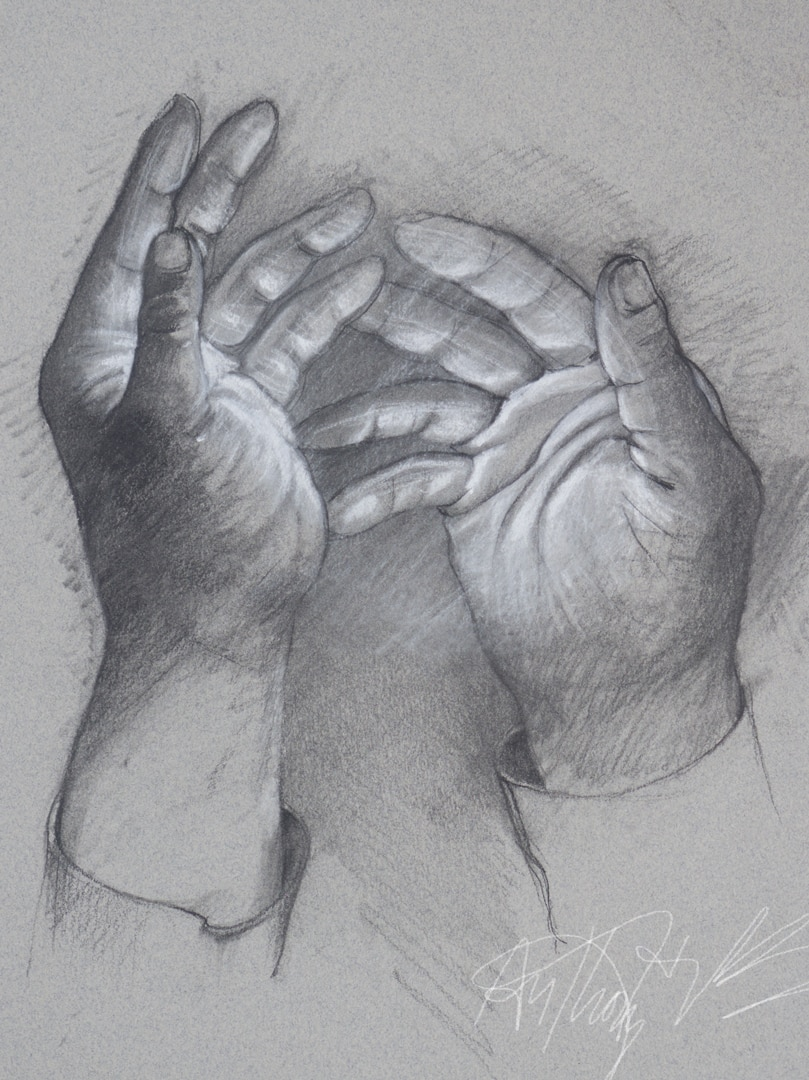 "The Light in His Hands Charcoal on Paper 14"" x 11"""